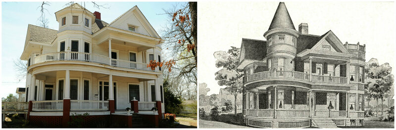 A modern-day Sears 303, next to its 1910 catalog image. The 303 is one of the rarest Sears kit homes
