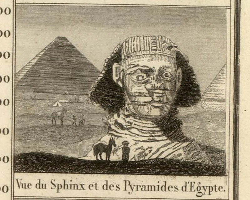 A vignette from Pick's map showing the Egyptian sphinx.
