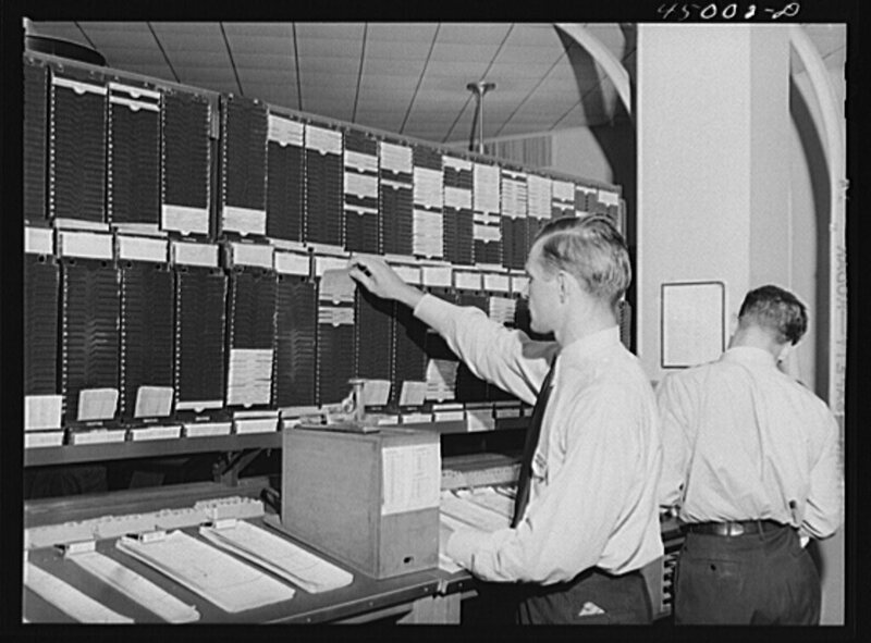 Ticket-buying the old fashioned way, at Washington, D.C.'s municipal airport in 1941.