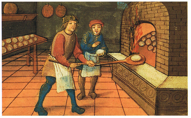 Medieval bread baking.
