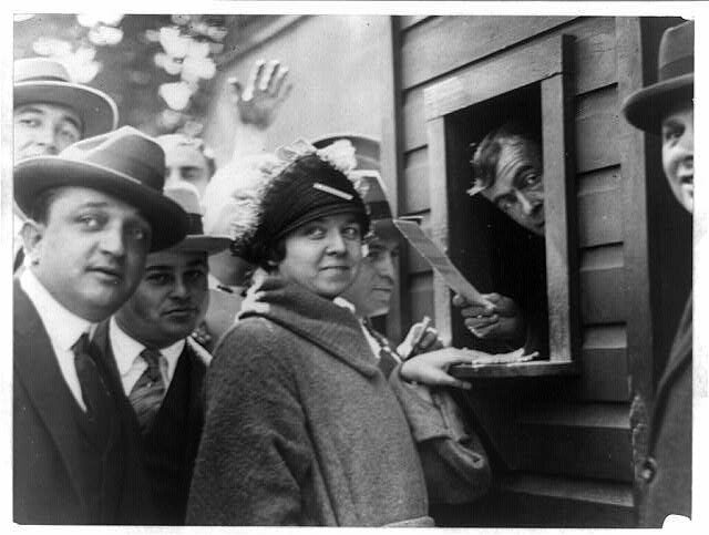 A woman named Elsie Tydings, first in line for World Series tickets in 1924. By that time, women were a larger presence in the stands.
