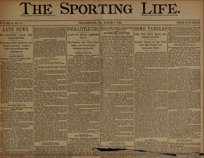 The front page of The Sporting Life the day of Black's first publication.