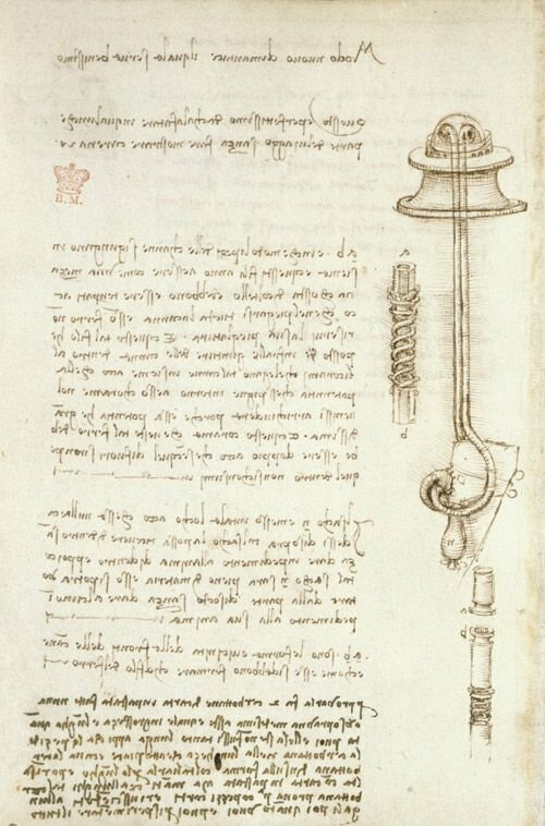 A page from the Codex Arundel, featuring one of Da Vinci's sketches of a diving apparatus.