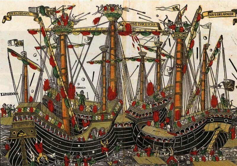 The 1499 Battle of Zonchio, between Venice and the Ottoman Empire, as painted by an unknown Venetian artist.