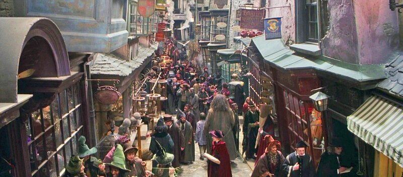 Shot of Diagon Alley from Harry Potter film