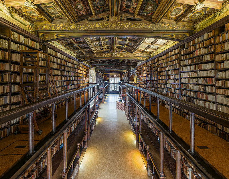 Interior of Duke Humphrey's Library, the oldest reading room of the Bodleian Library