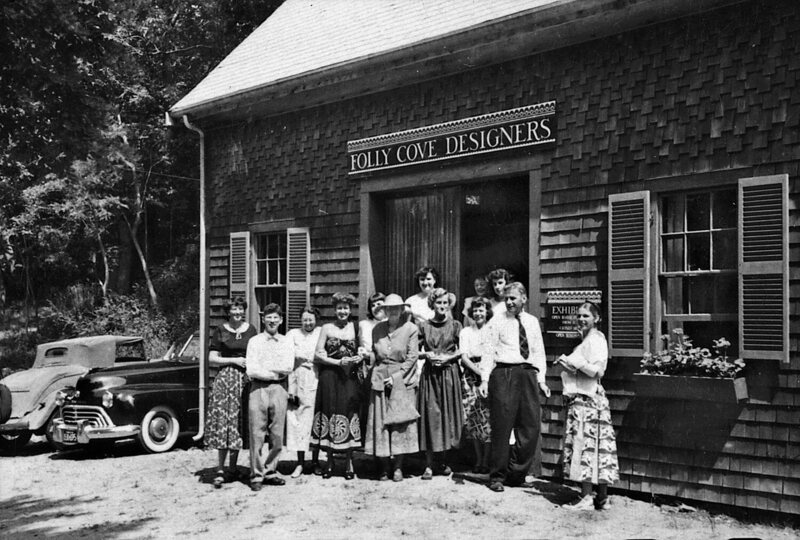 The Folly Cove Designers in 1949, outside the barn where they worked.