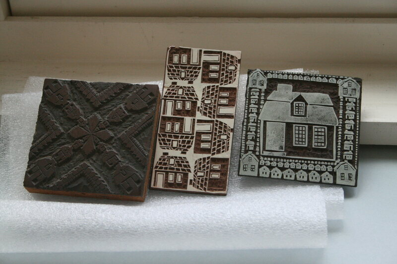 Early block print drafts of Peggy Norton's <em>Story and a Half House</em>, held at the Cape Ann Museum.