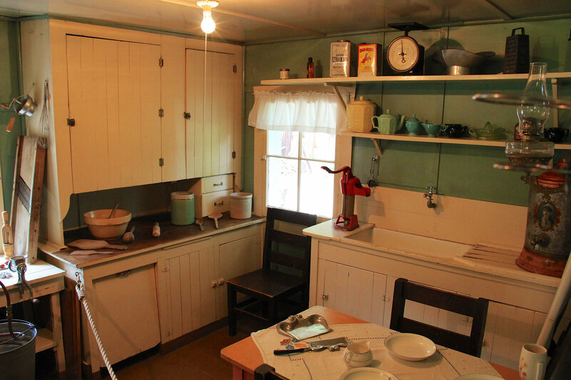 Inside the Holzwarth Historic Site kitchen, preserved in its original state.
