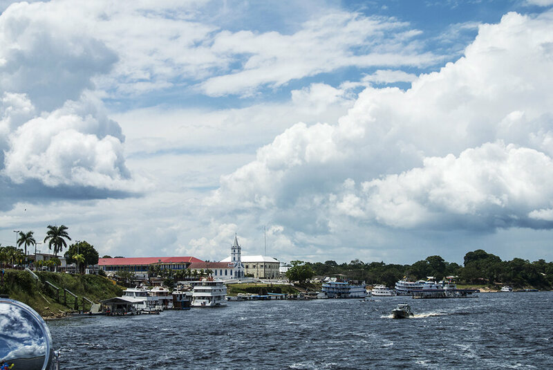 Barcelos' waterfront—the city can only be reached by boat or sporadic flights from Manaus