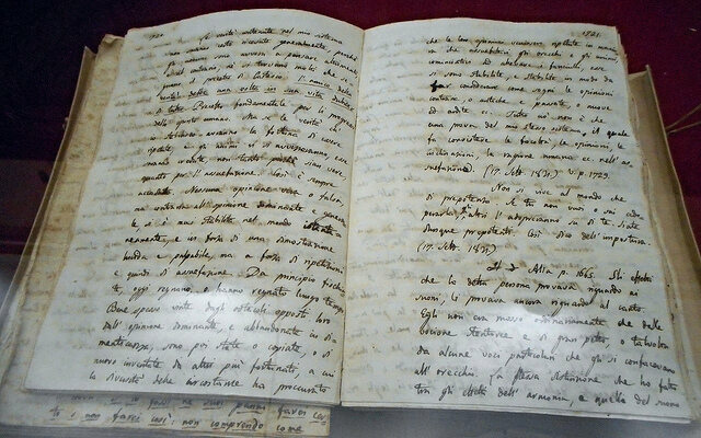 Giacomo Leopardi's Zibaldone di pensieri, on display at the National Library of Naples.