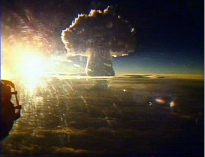Mushroom cloud caused by the Tsar Bomba explosion.