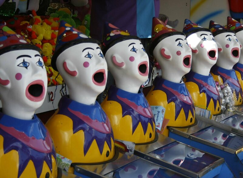 Clown dolls, potentially open-mouthed at their new reputation.