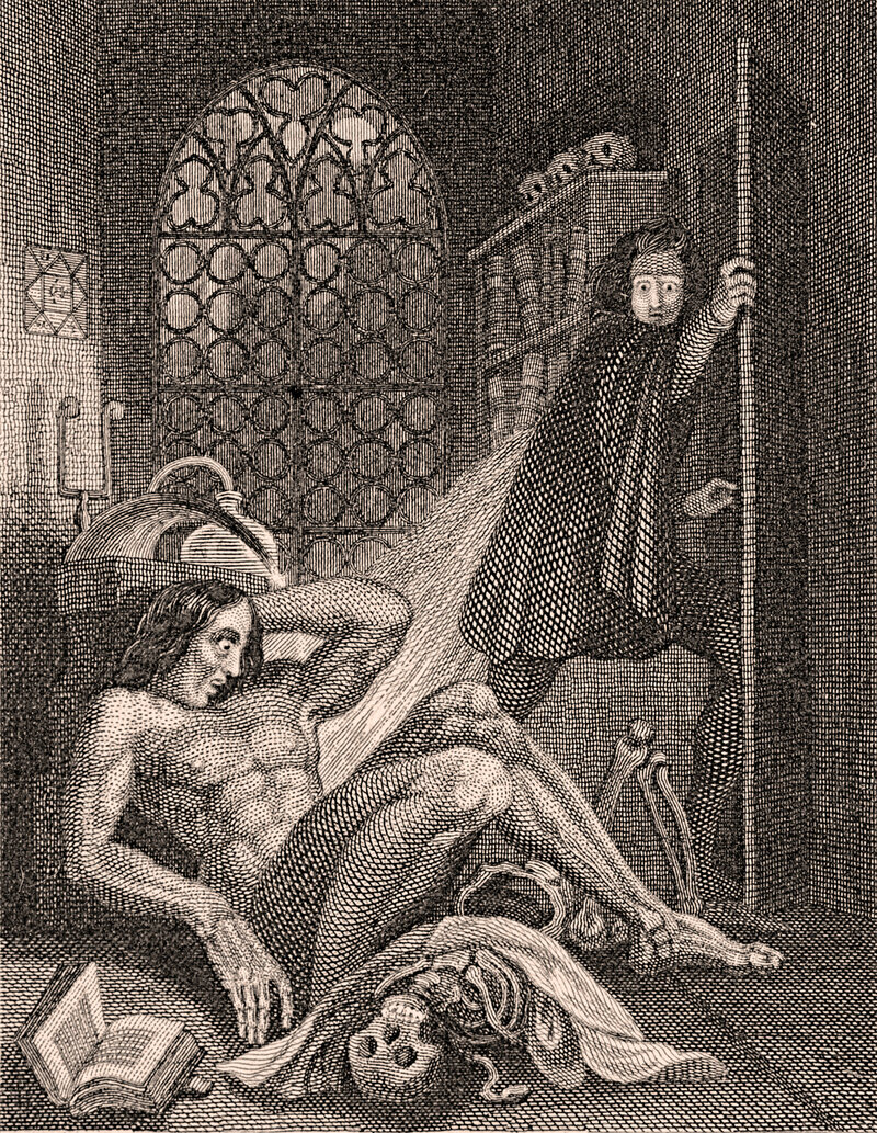 A steel engraving of Mary Shelley's 1831 edition of <em>Frankenstein</em>.