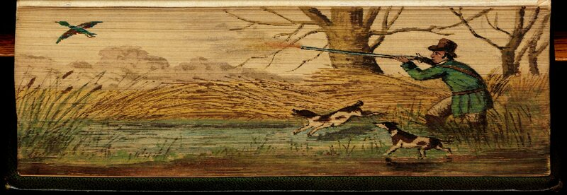 A hunter firing at a bird on the side of The Poetical Works of John Milton
