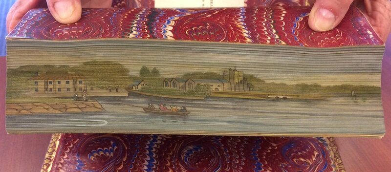 A two-way double fore-edge painting from The Book of The Thames (1859), slanted one way...
