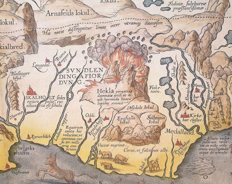 Detail of Abraham Ortelius' 1585 map of Iceland showing Hekla in eruption.