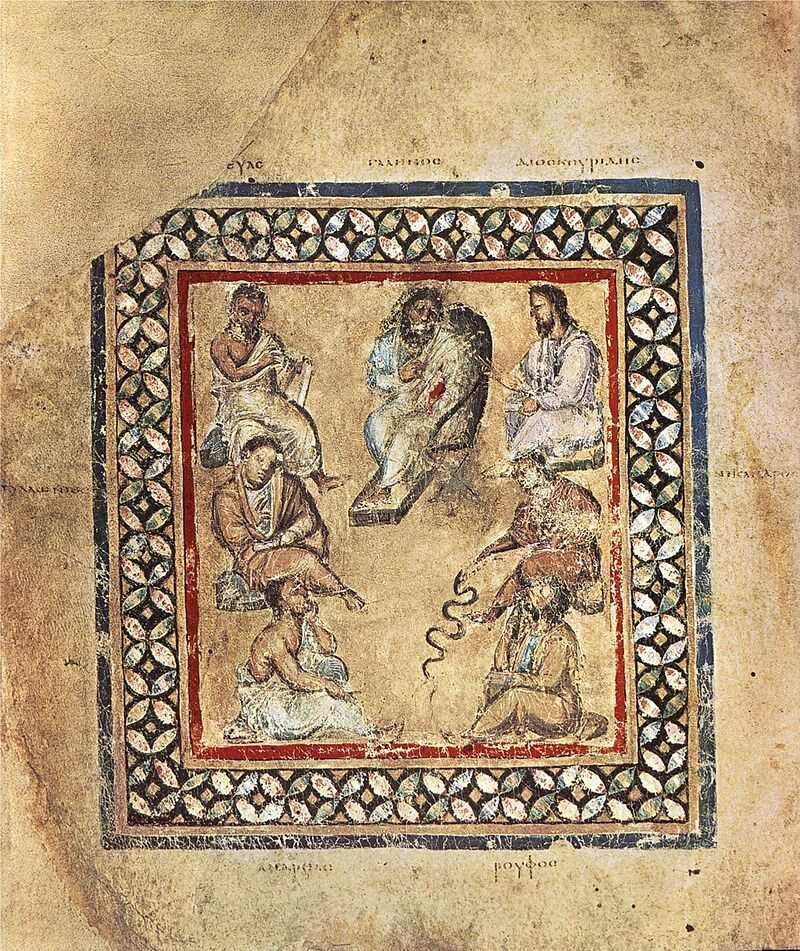 A group of physicians from the Greek manuscript Vienna Dioscurides, showing Galen - the first to coin the word Gonorrhea - at top center.