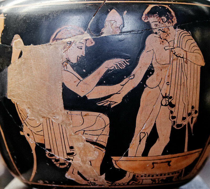 A depiction of a physician on a Greek vase.