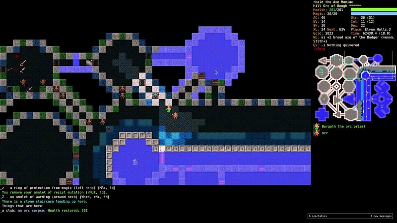 A screenshot of a playthrough of Stone Soup.