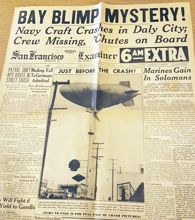 """Bay blimp mystery!"" The San Francisco examiner from August 17, 1942."