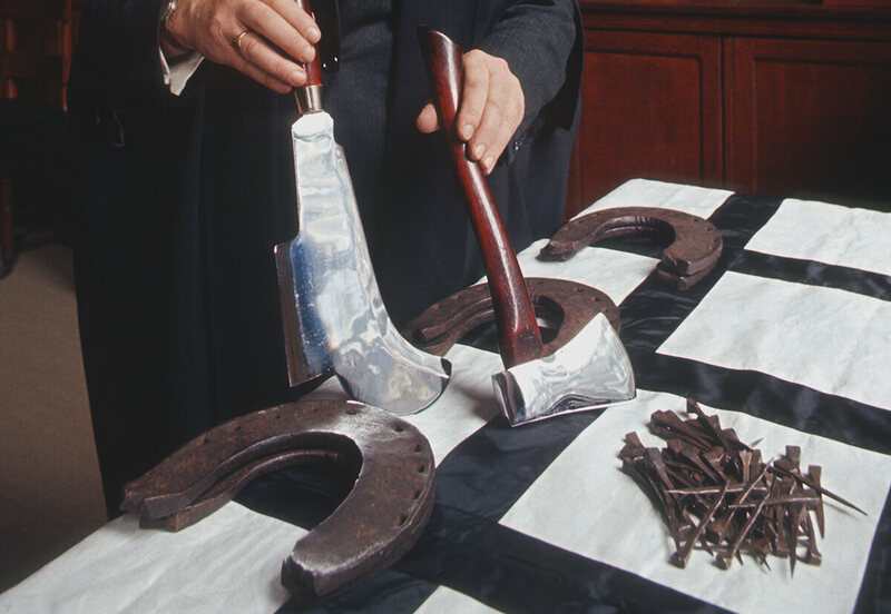 Horseshoes, 61 nails, an axe and billhook are part of the rent London owes to the Queen.