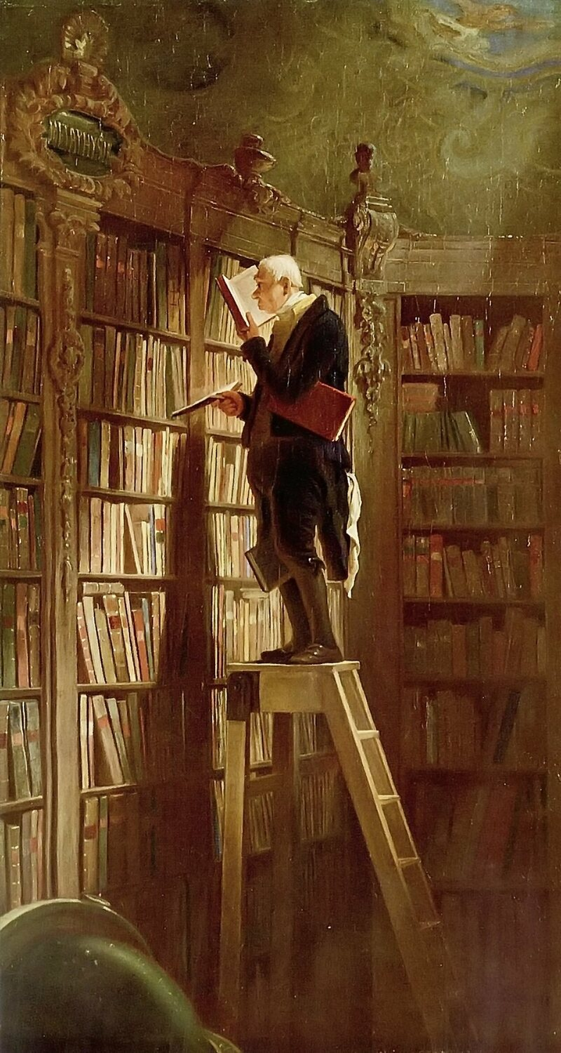 A bibliophile caring for his extensive collection, painted by Carl Spitzweg in 1850.