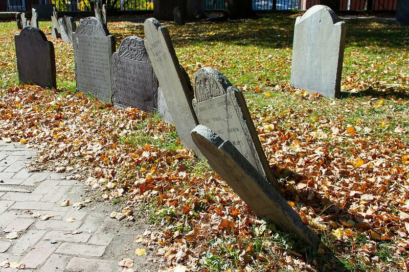 Several headstone in the Copp's Hill Burying Ground in Boston. Many of these headstone are from the 18th and 19th century.
