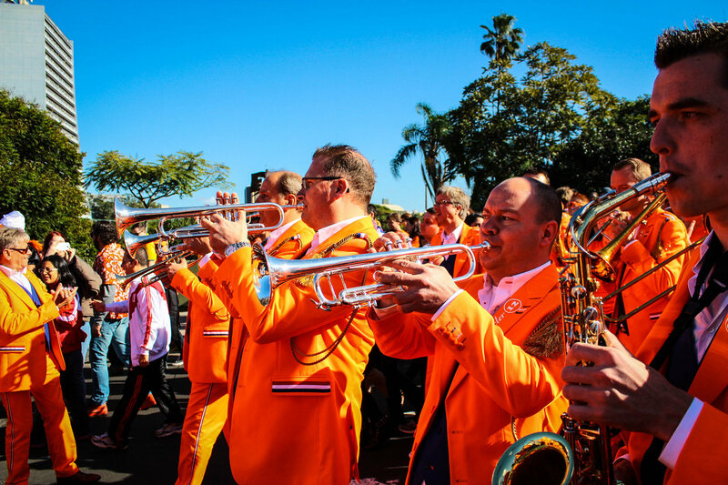A brass band performs during the 2014 World Cup in Porto Alegre, Brazil.