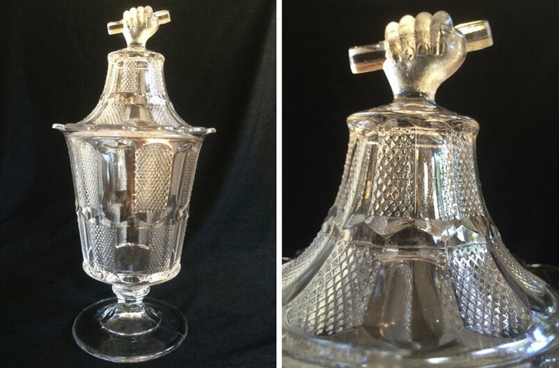 "Two view of an O'Hara Glass Co. ""Pennsylvania Hand"" sugar bowl, c. 1880."
