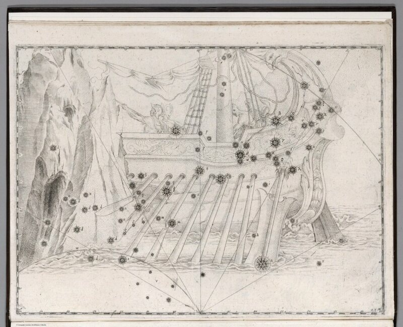 The detailed constellation of Argo Navis, the ship used by Jason and the Argonauts in the Greek myth.