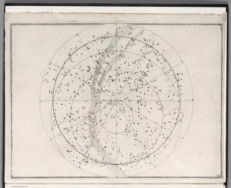 One hemisphere of the night sky, from the 1655 edition.