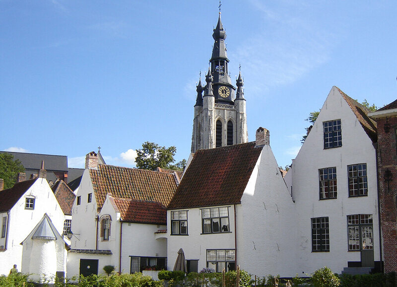 Beguinage, and church of Saint Martin in Kortrijk, West Flanders, Belgium.