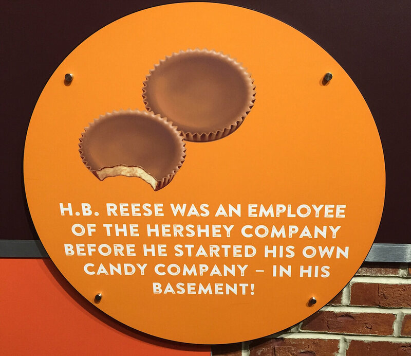 A plaque at Hershey's Chocolate World.