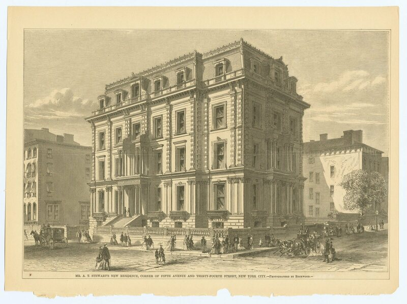 Stewart's residence on corner of Fifth Avenue and Thirty-fourth Street, New York City, 1861.
