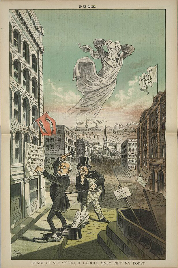 An 1882 <em>Puck</em> cartoon showing the ghost of Stewart searching for his body, as Henry Hilton posts sale signs on Stewart's properties.