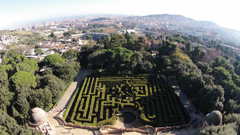 An aerial view of the Horta Labyrinth, Barcelona, Spain.