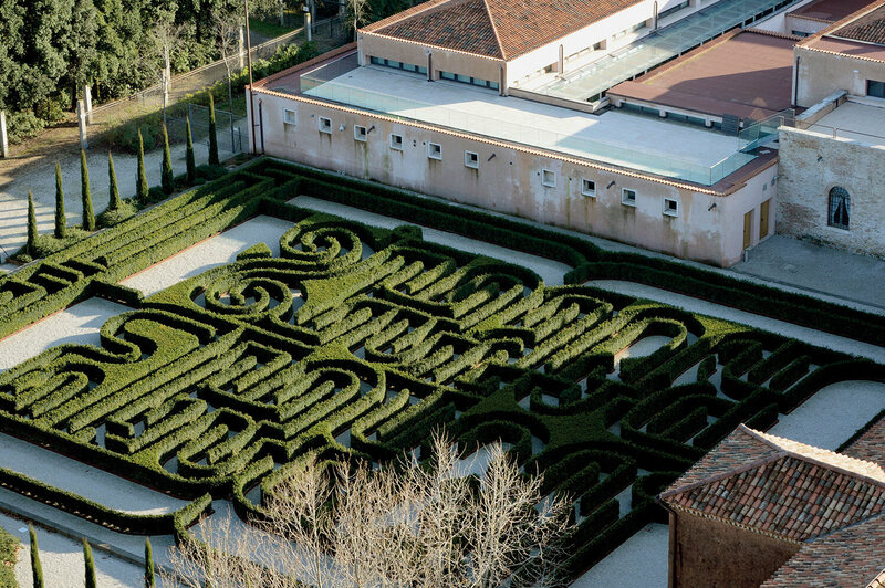"Borges Labyrinth in Venice, Italy, inspired by Jorge Luis Borges' story ""The Garden of Forking Paths"". From above, the pattern spells out his last name."