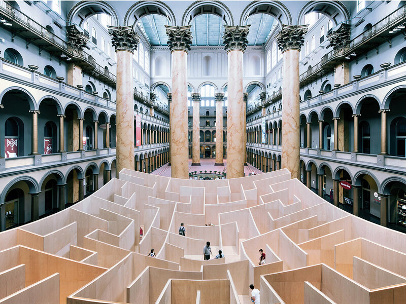 The Big Maze at the National Building Museum in Washington DC, a temporary installation design by architects BIG in 2014.