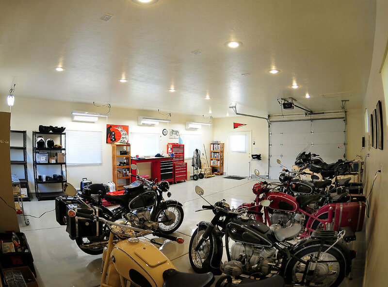 A mancave of motorcyles.