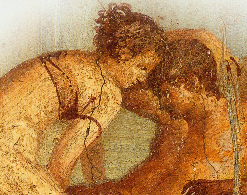 Detail of an erotic fresco from Pompeii's preserved House of the Centenary.