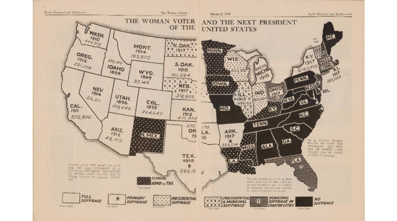 """""""The Woman Voter and The Next President,"""" a 1919 suffrage map."""