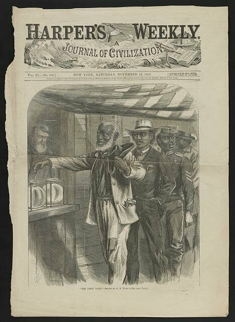 """""""The First Vote"""" illustrated African American men using the glass ballot box to vote."""