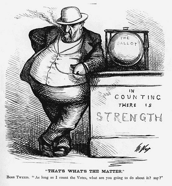 """William """"Boss"""" Tweed stands threateningly next to a glass ballot box. The Thomas Nast cartoon, published in 1871, demonstrated the flaws of the box."""