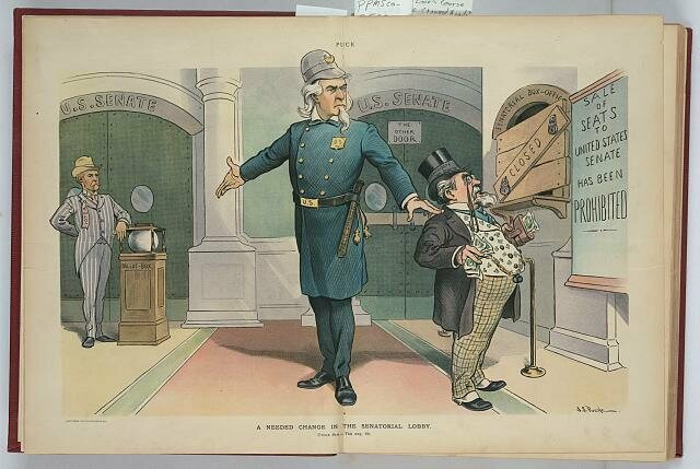 Uncle Sam directs a corrupt politician to the new entrance of the Senate, which is guarded by a voter and a glass ballot box.