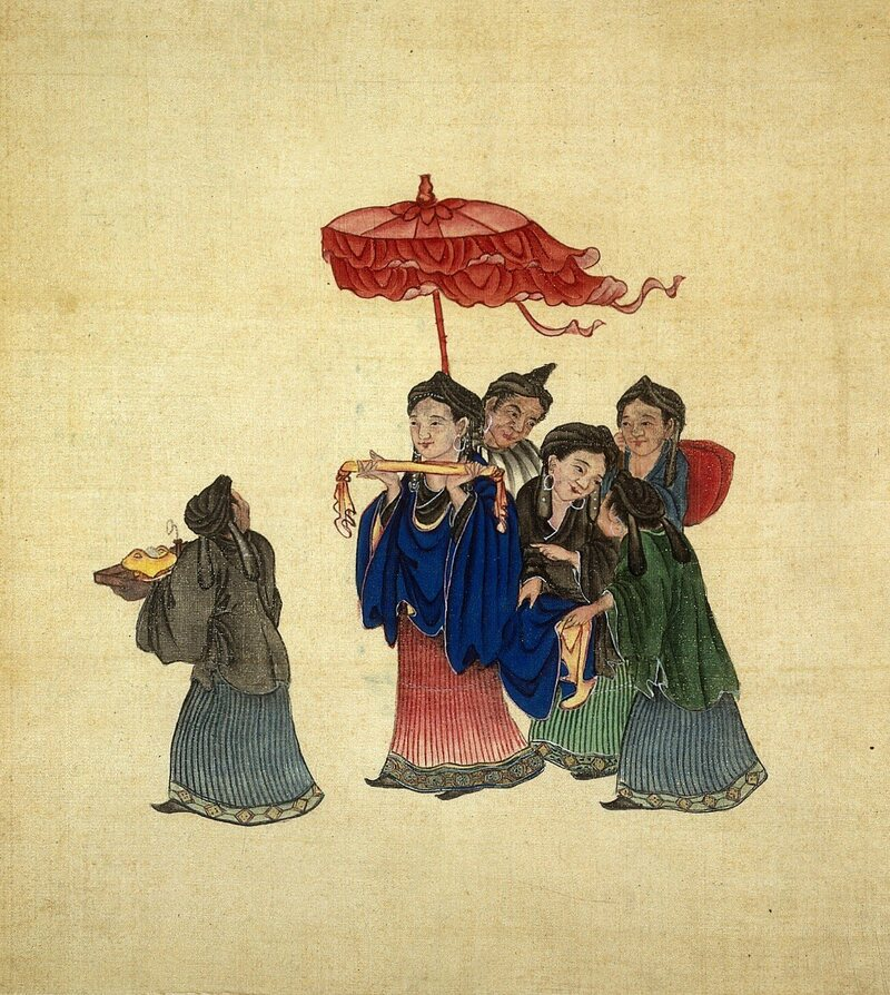 A representation of Miao women. Their public dancing and dresses were frowned upon by Chinese.