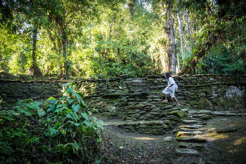 Miguel, 16, walks along the lower levels of the sprawling Lost City.