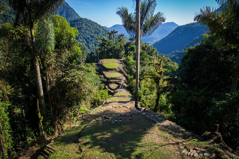 The panorama of the Lost City.  The round clearings, where houses once sat, extend down the sides of the mountains.  Many believe that only a small portion of the Lost City has been excavated at this point.