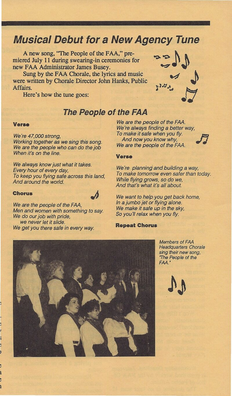 An article about the song <em>People of the FAA</em>, c. 1990.