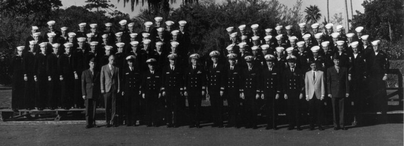 The crew of the U.S.S. Pueblo in January 1969, taken shortly after their arrival on the grounds of the Balboa Naval Hospital in San Diego.